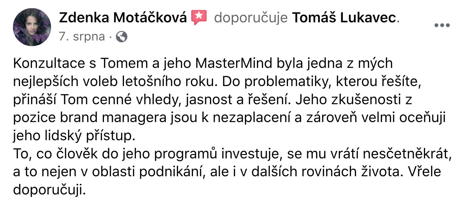 Reference - Zdeňka Motáčková